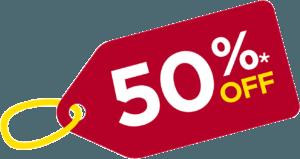 50% off banner