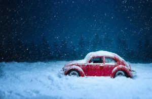 A VW Beetle in the snow
